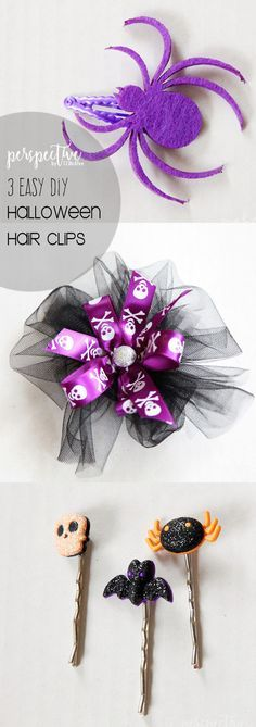 easy Halloween hairclips, diy hair bow, Halloween hair bow, Halloween hair pin, diy hair accessory, spider clip