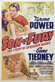 Son of Fury: The Story of Benjamin Blake //    Directed by	John Cromwell  Produced by	Darryl F. Zanuck  Written by	Edison Marshall (novel)  Philip Dunne (writer) (screenplay)  Starring	Tyrone Power  Gene Tierney  George Sanders  Frances Farmer  Music by	Alfred Newman  Cinematography	Arthur C. Miller  Release date(s)	29 January 1942