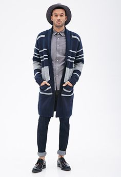 Striped Shawl Collar Cardigan | FOREVER 21 - 2000082723