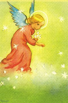 Nordic Thoughts: by Martta Wendelin Christmas Angels, Christmas Greetings, Xmas, Vintage Images, Vintage Art, Birthday Wishes For Boyfriend, Angels Among Us, Guardian Angels, Twinkle Twinkle Little Star