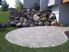 Fieldstone Patio, Boulder Outcropping Wall and Steps