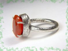 CARNELIAN  Caribbean Red  Textured Oxidized by FindMeTreasures  @@ FREE SHIPPING @@