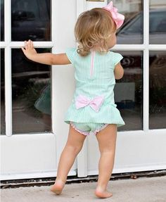 Ruffle Butts Mint Infant Summer Seersucker Peplum One Piece Swimsuit