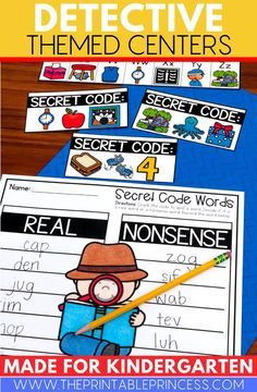 """All of the activities have an """"I Spy"""" or """"Secret Code"""" theme. Activities are hands-on, interactive, engaging and perfect for Kindergarten! First Grade Teachers, Kindergarten Teachers, Kindergarten Activities, Learning Activities, Teaching Ideas, Words To Spell, Detective Theme, Nonsense Words, Letter To Parents"""