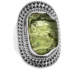 Genuine Czech Moldavite 925 Sterling Silver Ring Jewelry s.7 MLDR1622 - JJDesignerJewelry