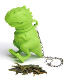 This T-Rex is hardly prehistoric—fill the infuser with a favorite loose-leaf tea and steep as this dinosaur prowls around the mug.2.76'' W x 1.5'' H x 2.8'' DSilicone / stainless steelHand washImported