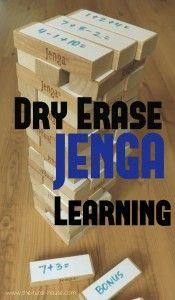 Use Jenga to enhance student learning -  dry erase peel n' stick labels and a wet erase marker make it easy! #edchat #educhat #studyfun