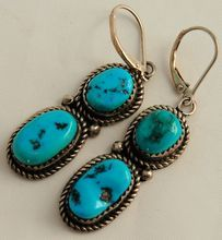 Native American Indian Sterling Silver Turquoise Earrings Signed V.L. from Antik Avenue on Ruby Lane