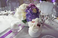 Décoration de mariage violet parme et hortensias