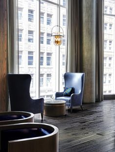 The Millennium Tower Boston interiors experience is rooted in the style of the late cool of The Thomas Crown Affair. Boston Interiors, Egg Chair, Architects, Tower, Luxury, Furniture, Home Decor, Homemade Home Decor, Lathe