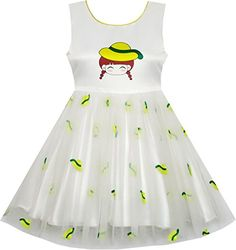 HQ75 Girls Dress Catoon Girl Pattern Tulle Overlay Party Pageant Size 6 -- Continue to the product at the image link.