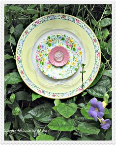 Yellow and Pink Plate Flower Garden Stake  by GardenWhimsiesByMary, $40.00