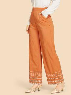 Pantalones anchos bajo en abanico-Spanish SheIn(Sheinside)