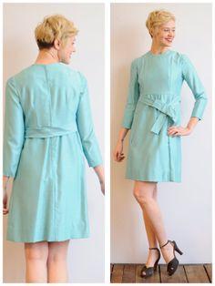 1960s Dress // Robins Egg Silk Dress // vintage by dethrosevintage, $115.00