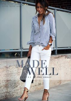 5bcd629e63a Love this outfit! Need to find some nice distressed skinny white jeans!  Sincerely Jules