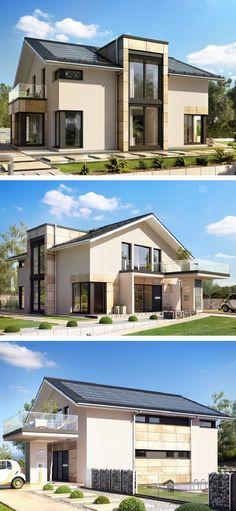 Perfekt Design Haus Modern Mit Satteldach Architektur U0026 Quergiebel    Einfamilienhaus Bauen Fertighaus Concept M 163