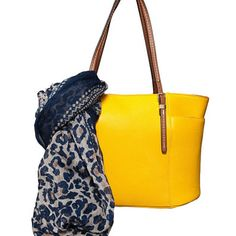 Two-Fer Deal! (a $110 value for $95) Get the Taylor Tote in Yellow and the Tribal Leopard Infinity Scarf for $95 and Free Shipping by Elise Hope on Opensky
