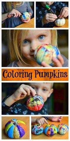 {Super Simple Pumpkin Decorating} Coloring Pumpkins | In Lieu of Preschool