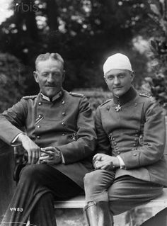 WWI Flying Ace Red Baron with His Father Original caption: Photograph of Baron Manfred von Richthofen with his father after being wounded at the front. July 1, 1917