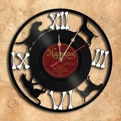 Dogs Pet Vinyl Record Clock via GeoArtCrafts. Click on the image to see more!