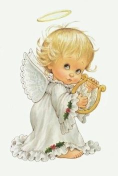 Christmas angel Illustration by Ruth Morehead Angel Images, Angel Pictures, Cute Pictures, Vintage Christmas Cards, Christmas Pictures, Christmas Angels, Christmas Art, Xmas, 2 Clipart
