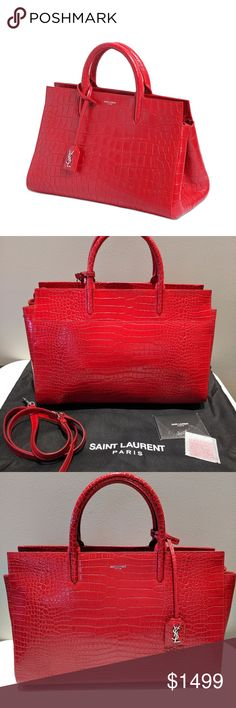 """Saint Laurent Red Leather Cabas Rive Gauche Bag CONDITION New With Tags This item has original tags and shows no visible signs of wear. 14""""L x 10""""H x 6""""W    DESCRIPTION 100% authentic.  Showcasing elegance combined with practicality, this red crocodile embossed leather Yves Saint Laurent Cabas Rive Gauche tote bag in size medium is luxury at its finest. It's magnificently constructed from high-end nubuck stamped quality leather. Stellar features include twin tubular handles, an adjustable…"""