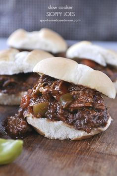 Slow Cooker Sloppy Joes from yourhomebasedmom.com Sweet and Tangy!