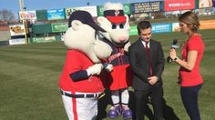 PawSox celebrate opening day at McCoy Opening Day, Mickey Mouse, Disney Characters, Fictional Characters, Seasons, Baseball Cards, Celebrities, Sports, Hs Sports