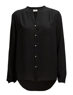 DAY - Day Femme-Front button placket Pleat details Button cuffs Curved hemline Mandarin style collar Excellent quality and fit Modern Office wear Practical Refined Office Wear, Front Button, Hemline, Cuffs, Day, Modern, Sweaters, How To Wear, Shirts