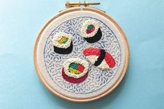 Looking for Japanese embroidery designs with a difference? Try this sushi embroidery hoop by Kirsty Wyllie!