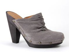 Nine West Women's Shoes MACGOWAN Studded Suede Grey Clogs Size 9.5