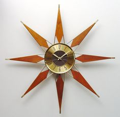 Mid Century Modern Starburst Clock by Elgin Atomic by ClubModerne, $245.00