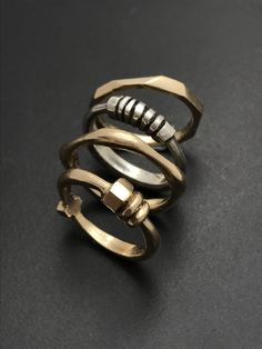 Architectural Stacking Ring by Tavia Brown. Unique sterling silver stacking ring done in an architectural design. Stacks well with other rings and other styles.