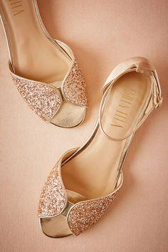 Nude Glittery Flats