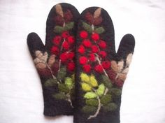 SALE - Felted mittens - black with rowan motives Wool Gloves, Mitten Gloves, Nuno Felting, Needle Felting, Recycled Sweaters, Wool Art, Knit Mittens, Felt Hearts, Fabric Art