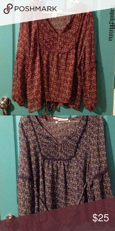 Floral peasant tops blue and maroon Floral peasant top blue and maroon American Rag Tops Blouses