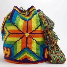 WAYUU TRIBE | #Handmade Boho Bags & Crochet Patterns made by the indigenous Wayuu Tribe in Colombia! #BogoBags starting at $98.00 - $225.00 We offer international shipping including Brazil. #Mochila #Bolsa #Yoga #Crochet #Knit #yarn #moda #mode #boho #handbag #streetstyle #bucketbag Boho Crochet Patterns, Love Crochet, Knit Crochet, Tapestry Bag, Tapestry Crochet, Go Bags, Purses And Bags, Mochila Crochet, Inkle Loom