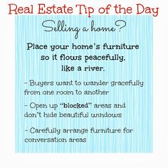 Real Estate Tip of the Day when selling a home