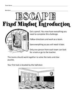 Growth Mindset Activity Escape Room Challenge Escape Fixed ...