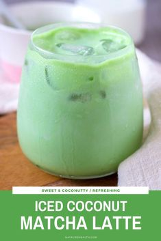 Iced Coconut Matcha Latte is the perfect morning SUPERFOOD drink that will boost your mood instantly. Its packed with amazing coconut flavor creamy and cooling incredibly healthy ans EASY to make. Infused Water Recipes, Drinks Alcohol Recipes, Tea Recipes, Coffee Recipes, Smoothie Recipes, Real Food Recipes, Drink Recipes, Dinner Recipes, Alcoholic Beverages