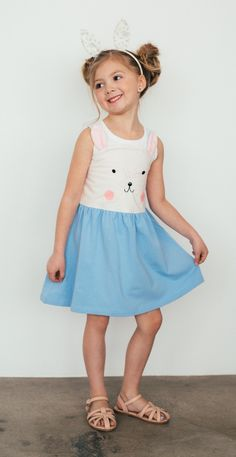 """Cute enough to join Peter Rabbit in the briar patch, this sweet jumper is perfect for that early morning egg hunt. A cute bunny face with strappy """"ears"""" make it easy to slip on and off, but comfortable enough she'll want to wear it every day."""