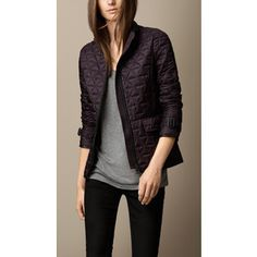 Burberry Leather Trim Quilted Jacket
