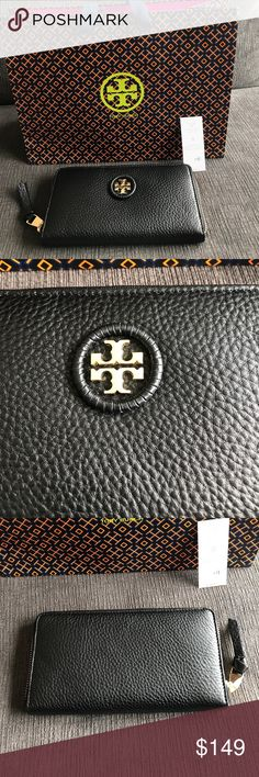 BNWT Tory Burch black continental wallet Brand new black whipstitch logo zip continental wallet with gold accents. Super cute! The pebbled leather feels very rich. I can include the Tory burch shopping bag Tory Burch Bags Wallets