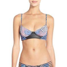 Maaji 'Floral Glampers' Print Underwire Bikini Top ($70) ❤ liked on Polyvore featuring swimwear, bikinis, bikini tops, purple multi, purple bikinis, underwire swimsuit tops, underwire bikini top, swim suit tops and underwire tankini top