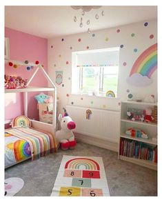 Girls Room Design, Girl Bedroom Designs, Bedroom Themes, Rainbow Room Kids, Rainbow Bedroom, Rainbow Wall, Toddler Room Decor, Toddler Rooms, Kids Bedroom Ideas For Girls Toddler