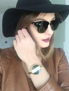#perfectmatch #sunglasses #RayBan #goldswatch #burgundylips #blackhat