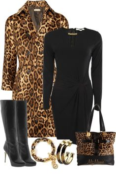 A fashion look from December 2012 featuring Michael Kors dresses, Michael Kors coats und Michael Kors boots. Browse and shop related looks. Classy Outfits, Chic Outfits, Fall Outfits, Fashion Outfits, Womens Fashion, Outfit Winter, Animal Print Fashion, Fashion Prints, Animal Prints