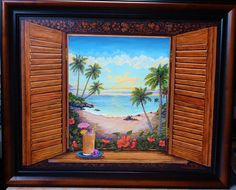 Tropical Beach Cottage or Cabin window painting  22x28 by GramsArt, $275.00
