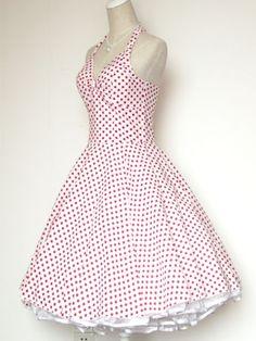 31054772bd8 50s 60s Vintage Polka Dot Swing Jive Rockabilly Dress