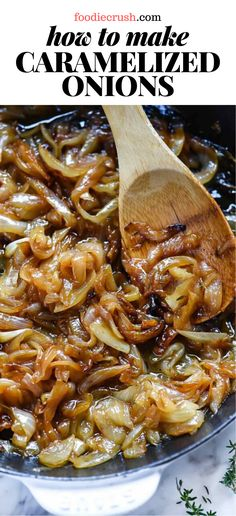 Caramelized onions add a whole lot of flavor with very few ingredients and even less effort, so long as you know the secrets. Side Dish Recipes, Easy Dinner Recipes, Vegetable Recipes, Vegetarian Recipes, Easy Meals, Cooking Recipes, Caramelized Onions Recipe, Carmelized Onions, I Love Food